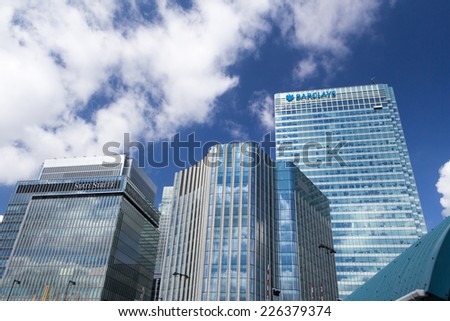 LONDON, UK - 15th JULY 2014: London's financial district, Canary Wharf, in London on 15 July 2014 - stock photo