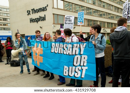 London, UK. 4th June 2016. EDITORIAL - Bursary Or Bust rally - Protest march by healthcare professionals through London, in protest of government plans to axe the NHS bursary for healthcare students.