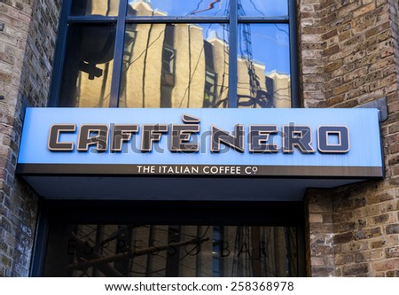 LONDON, UK - 4TH MARCH 2015: A sign for a Cafe Nero coffee house in London on the 4th March 2015.