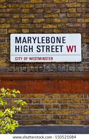 LONDON, UK - 24TH MAY 2012: Street sign for Marylebone High Street in London. - stock photo