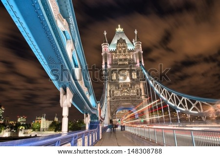 London, UK. Wonderful colors of Tower Bridge in the autumn night. - stock photo