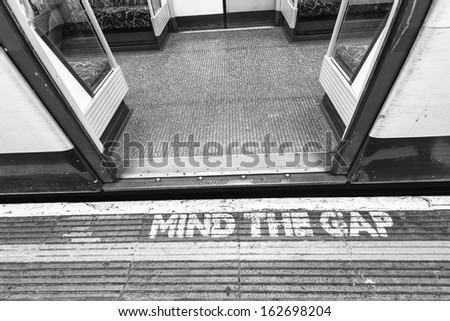 London underground sign, mind tha gap. - stock photo