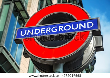 London underground sign near the Westmisnster station - stock photo