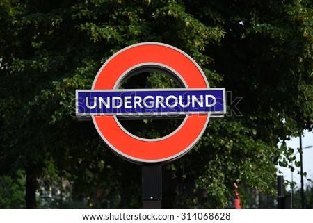 London Underground station Sign - stock photo