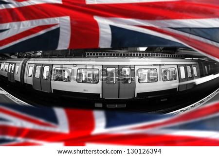 London Underground with flag of England - stock photo