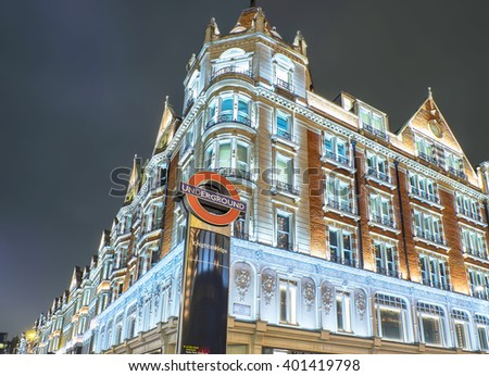 LONDON, UNITED KINGDOM - April 2, 2016: Building view of London along busy Brompton Road in London with signage of London Underground Knightsbridge station.