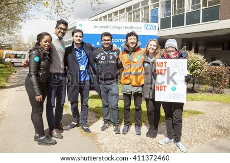London, United Kingdom - April 26, 2016:48 Hour Strike by the Junior Doctors. The first all out strike in the history of the NHS occurred today in England by the junior doctors over funding of the NHS