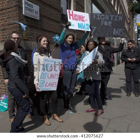 London, United Kingdom - April 26, 2016: 48 Hour Strike by the Junior Doctors.The first all out strike in the history of the NHS occurred today in England by the junior doctors over funding of the NHS