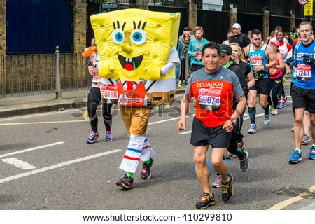 London, United Kingdom - April 24, 2016: London Marathon 2016. Runners in Funny costumes. SpongeBob SquarePants - stock photo