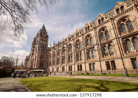LONDON, UNITED KINGDOM - APRIL 16: Natural History Museum facade on April 16, 2013 in London, UK. The museum�s collections comprise almost 70 million specimens from all parts of the world. - stock photo