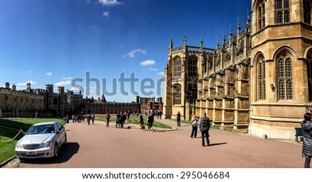 LONDON, UNITED KINGDOM - APRIL 19, 2015: St George's Chapel in Windsor castle. St George's Chapel was a popular destination for pilgrims during the late medieval period. - stock photo
