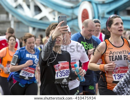 London, United Kingdom - April 24, 2016: The London Marathon. The second half of the London Marathon is full of amazing people who run to raise money for a charity of their choice.