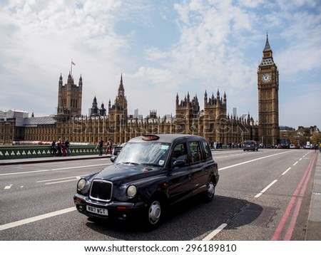 LONDON, UNITED KINGDOM - APRIL 16, 2015: The most famous London landmark Big Ben from Westminster bridge . London is the world's most-visited city as measured by international arrivals. - stock photo