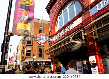 LONDON, UNITED KINGDOM - APRIL 10, 2015: Undergroud train entrance in London , UK. The Underground is a public rapid transit system serving a large part of Greater London. - stock photo