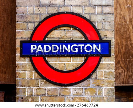 LONDON, UNITED KINGDOM - APRIL 10, 2015: Undergroud train sign in London Paddington station in London, UK. The Underground is a public rapid transit system serving a large part of Greater London. - stock photo