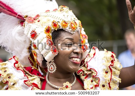 London, United KIngdom - August 29, 2016: Notting Hill Carnival. The Notting Hill Carnival is world famous, with many competing groups dancing through the streets of Notting Hill in London.