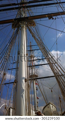 LONDON, UNITED KINGDOM - AUGUST 08, 2015: On the upper deck of the ship Cutty Sark, looking up at the mast, ropes and rigging of this sailing vessel.