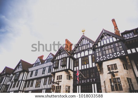 LONDON, UNITED KINGDOM - August 12th, 2014: exterior of the Liberty department Store in London city centre