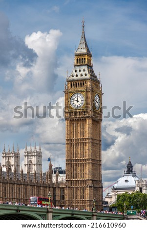 LONDON, UNITED KINGDOM - AUGUST 4: The Elizabeth Tower on August 4, 2014 in London. The Clock Tower, named in tribute to Queen Elizabeth II in her Diamond Jubilee, more popularly known as Big Ben.  - stock photo