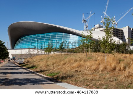 LONDON, UNITED KINGDOM - AUGUST 26, 2016: The London Aquatics Centre designed by Zaha Hadid for the London 2012 Olympic Games.