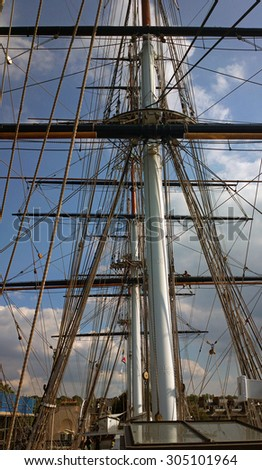 LONDON, UNITED KINGDOM - AUGUST 08, 2015: The top deck of the ship Cutty Sark, in Greenwich, London, England, United Kingdom, near the River Thames.