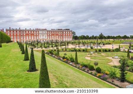 LONDON, UNITED KINGDOM - AUGUST 26: View of the Historic Royal Palace of Hampton Court on August 26, 2009. It was originally built for Cardinal Thomas Wolsey, a favorite of King Henry VIII. - stock photo