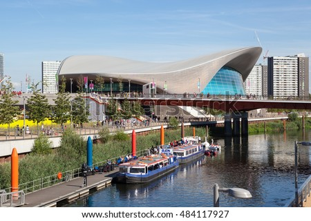 LONDON, UNITED KINGDOM - AUGUST 26, 2016: View of the London Aquatics Centre and the Lea Valley on a busy summer day.