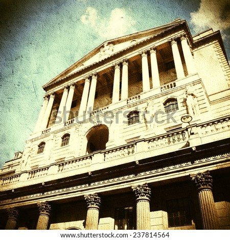 London, United Kingdom - Bank of England building. Cross processed retro style color tone. - stock photo