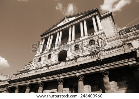 London, United Kingdom - Bank of England building. Sepia tone - filtered retro style monochrome photo. - stock photo