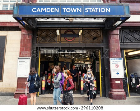LONDON, UNITED KINGDOM - CIRCA JUNE 2015: Camden Town Station. The Underground system serves 270 stations and has 402 kilometres (250 mi) of track, 45 per cent of which is underground.