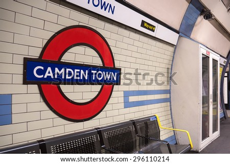 LONDON, UNITED KINGDOM - CIRCA JUNE 2015: Camden Town Station. The Underground system serves 270 stations and has 402 kilometres (250 mi) of track, 45 per cent of which is underground. - stock photo