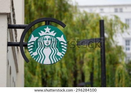 LONDON, UNITED KINGDOM - CIRCA JUNE 2015: Starbucks store logo. Starbucks is the largest coffeehouse company in the world. Illustrative editorial. - stock photo