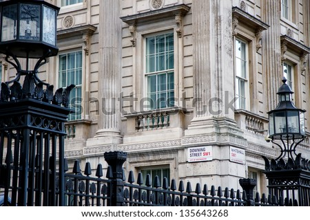 LONDON, United Kingdom DEC 15: Downing Street is the official office of the British Prime minister on December 15, 2012 in London, United Kingdom. - stock photo