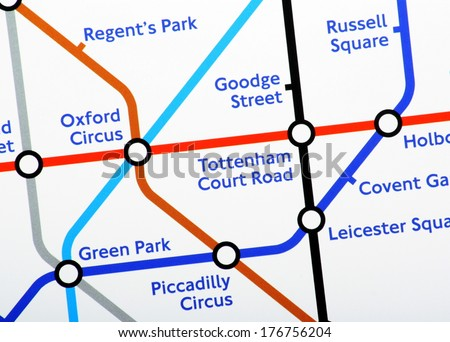 London, United Kingdom - Feb 11, 2014: A close up of one section of the London Underground Map on February 11th, 2014. London Underground carries more than one billion passengers a year - stock photo