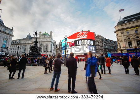 LONDON, UNITED KINGDOM - FEB 24, 2016: One of the most famous tourist destination, Piccadilly Circus, in London. The big advertising screen have become a major attraction of London. - stock photo