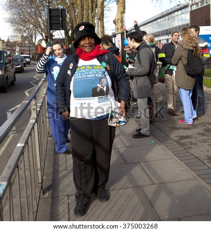 London, United Kingdom - February 10, 2016. Charring Cross Hospital, Hammersmith. The junior doctors are on strike again after having had very little success getting their demands heard the first time