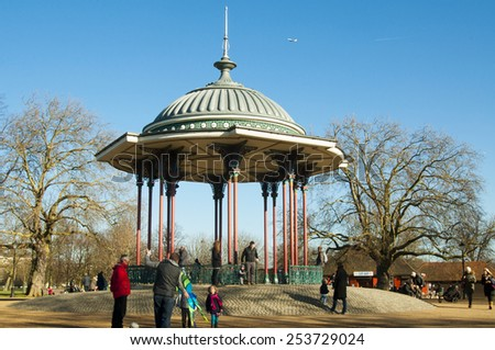 LONDON, UNITED KINGDOM - FEBRUARY 16, 2014: Clapham Bandstand in the Clapham Common Park in London on February 16, 2014, UK. In the centre of the Common is the Clapham bandstand constructed in 1890. - stock photo