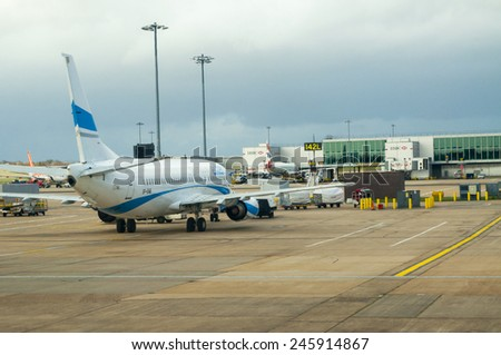 LONDON, UNITED KINGDOM - FEBRUARY 15, 2014:  Plane in the Gatwick Airport in London on February 15, 2014, UK