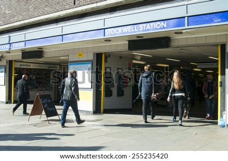 LONDON, UNITED KINGDOM - FEBRUARY 16, 2014: Stockwell tube station in London on February 16, 2014, UK. This is a London Underground station in Stockwell, in the London Borough of Lambeth - stock photo