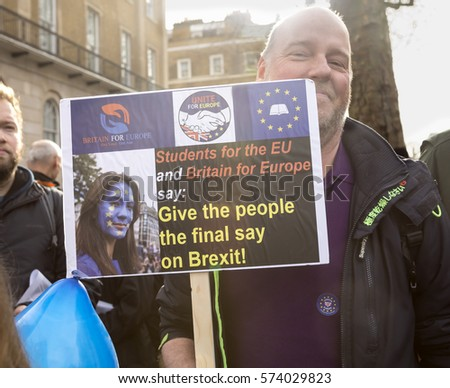 London, United Kingdom - February 4, 2017:Stop Article 50 Rally.A rally was held outside Downing Street to try to tell Prime Minister May that she doesn't have the support of all the people for Brexit