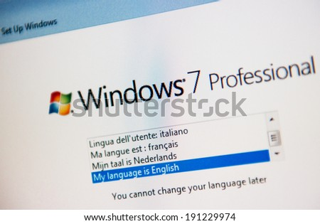 LONDON, UNITED KINGDOM - FEBRUARY 04, 2014: Windows 7 Professional software operating system installation starting page as seen on new computer on February 14, 2014 - stock photo