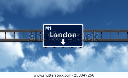 London United Kingdom Highway Road Sign 3D Illustration - stock photo