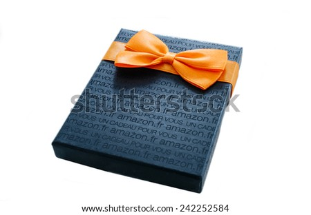 LONDON, UNITED KINGDOM - JAN 18, 2013: Close-up of Amazon Gift Card box isolated on white. Amazon Gift Box with A greeting Card is delivered in one-day shipping through the world - stock photo