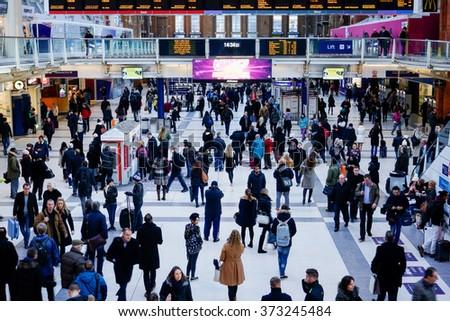 LONDON, UNITED KINGDOM - JANUARY 17 2016: Liverpool Street Station in London, United Kingdom. - stock photo