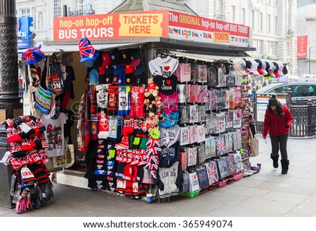LONDON, UNITED KINGDOM - JANUARY, 2016: Souvenir stand on Piccadilly Circus - stock photo