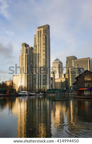 LONDON, UNITED KINGDOM - JANUARY 5TH, 2016: The skyline of Canary Wharf taken from Crossharbour in East London.
