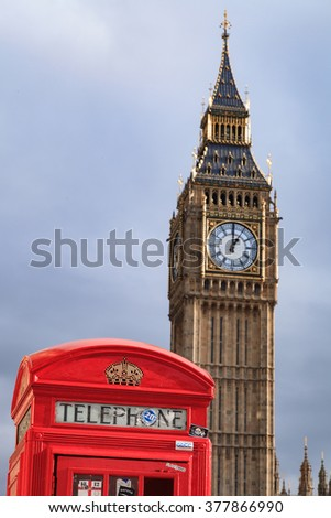 LONDON, UNITED KINGDOM - 25 JANUARY 2016: Traditional Red Telephone Box and Big Ben in London, UK