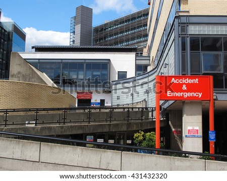 LONDON, UNITED KINGDOM - JULY 19, 2012: Accident and Emergency clinic in St Mary's Hospital, Imperial College Healthcare NHS Trust. It is one of the largest National Health Service trusts in England. - stock photo
