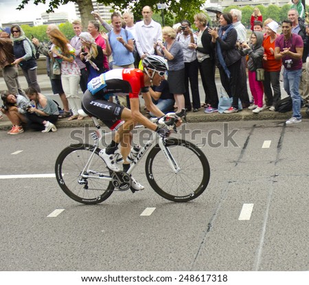 LONDON, UNITED KINGDOM - JULY 7: Frank Schleck on the Embankment during the Tour de France on July 7, 2014 in London, United Kingdom. The Tour de France is the world's most famous cycling race. - stock photo