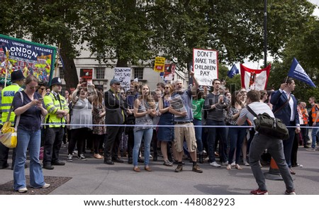 London, United Kingdom - July 5, 2016: National Union of Teachers Strike. The National Union of Teachers called a strike and teachers in London marched on Parliament Square.